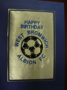 PERSONALISED EMBROIDERED WEST BROMWICH ALBION FC CARD - FOOTBALL